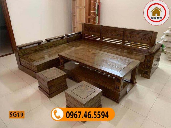 Bộ ghế sofa tay trứng mặt liền gỗ sồi Nga SG19
