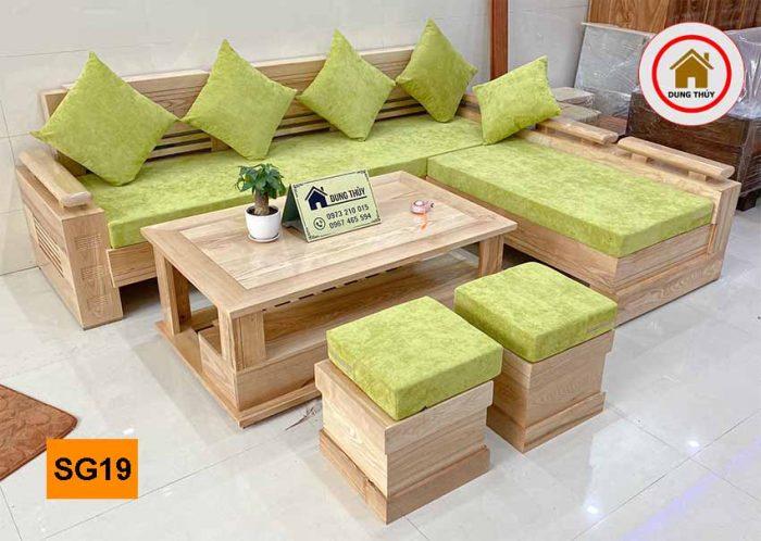 Bộ ghế sofa tay trứng to mặt liền gỗ sồi Nga SG19