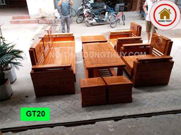 Bộ ghế đối tựa trứng bộ mặt liền gỗ sồi Nga GT20