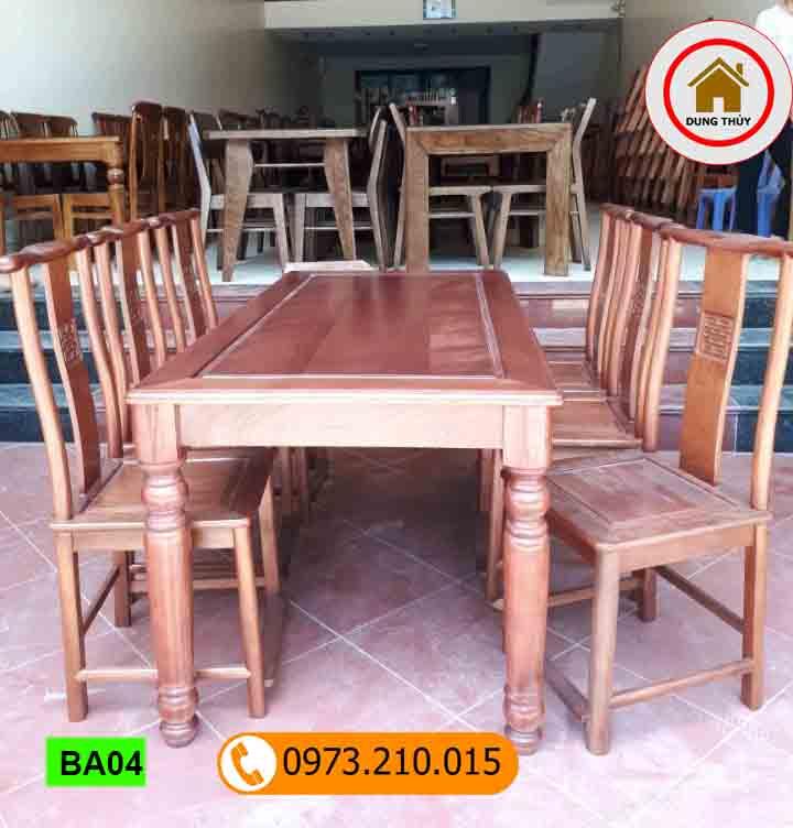 bộ bàn ăn 6 ghế phong cách cổ điển gỗ sồi Nga BA04