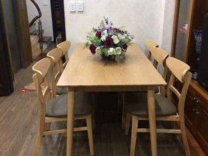 Bộ bàn ăn 6 ghế kiểu phương Tây gỗ sồi Nga BA05