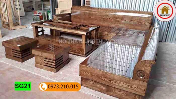 Bộ ghế sofa tựa cong gỗ hương xám SG21