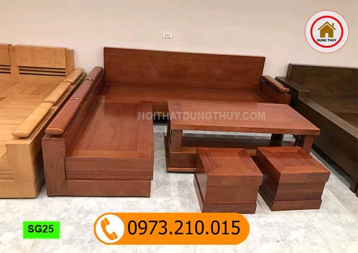 bộ ghế sofa tay trứng gỗ xoan đào tựa liền SG25