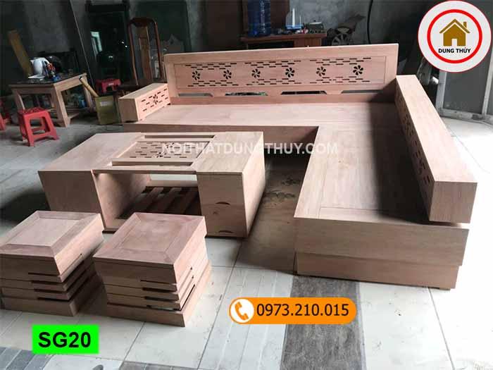 Bộ ghế sofa hộp góc hoa gỗ sồi Nga SG20