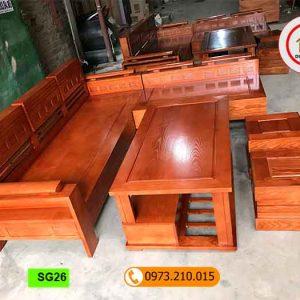 Bộ ghế sofa tay trứng gỗ sồi Nga phun màu óc chó hương vân SG26