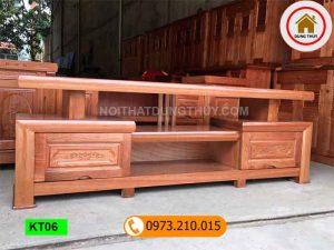 Kệ tivi 2 ngăn kéo gỗ xoan đào KT06