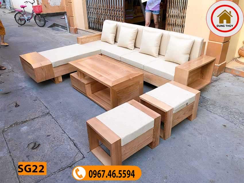 mẫu ghế sofa gỗ hiện đại gỗ sồi SG22