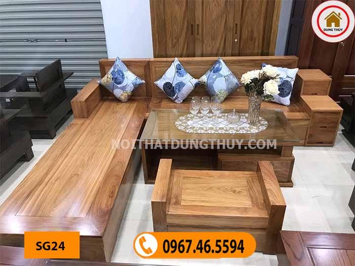 mẫu ghế sofa gỗ tự nhiên đẹp SG24