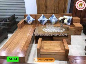 Bộ ghế sofa hộp 3 ngăn kéo gỗ hương xám SG24