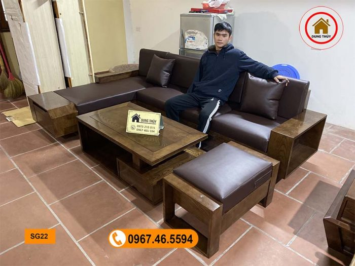 ghế sofa ngăn kéo vát gỗ sồi SG22