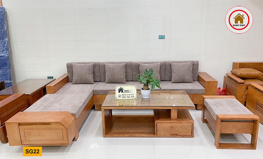 sofa ngăn kéo vát gỗ sồi SG22 xịn