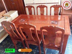 Bàn ăn chữ nhật 6 ghế kiểu xưa gỗ xoan đào BA06