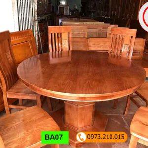 Bộ bàn ăn tròn 6 ghế gỗ xoan đào BA07