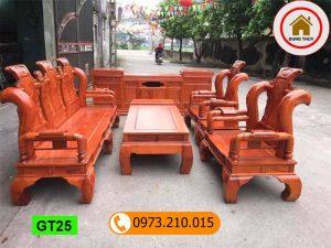 Bộ bàn ghế Tần Thủy Hoàng tay 12 gỗ hương đá GT25