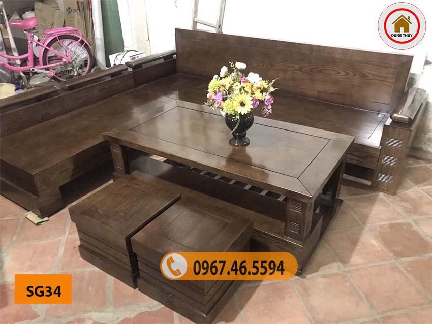 bộ ghế sofa gỗ tự nhiên cho chung cư SG34