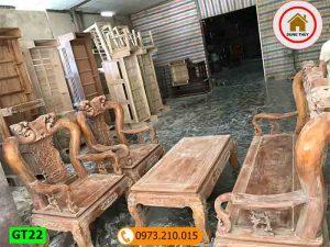 bộ ghế tay 10 giả cổ gỗ nghiến GT22