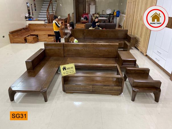 bộ ghế sofa chân cong gỗ sồi SG31