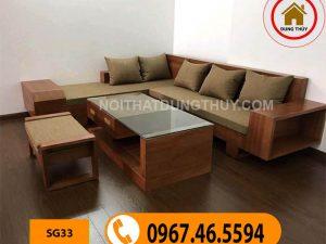 ghế sofa gỗ phòng khách cho văn phòng SG33