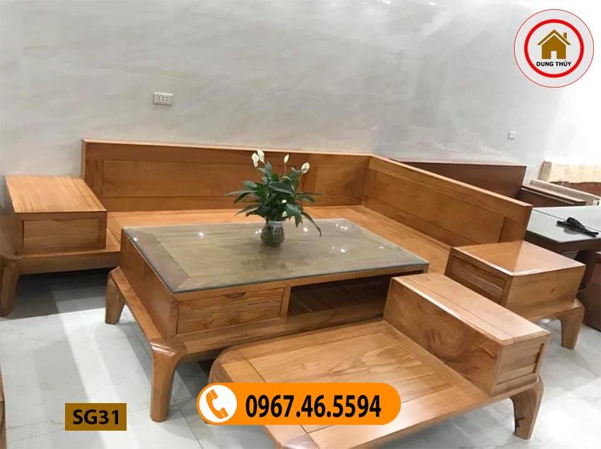 ghế sofa gỗ tự nhiên đơn giản đẹp SG31