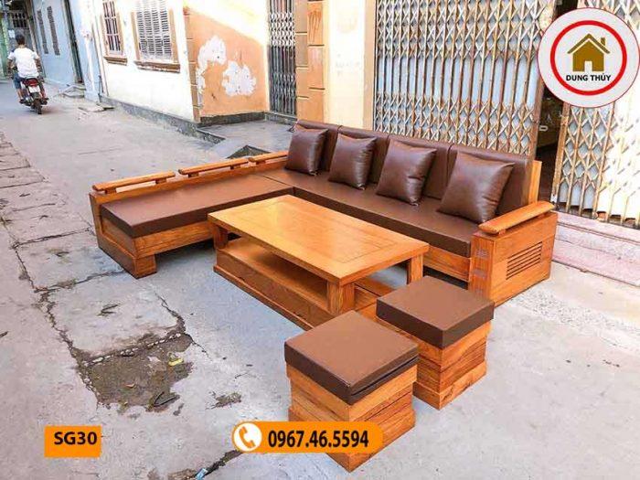 ghế sofa gỗ tự nhiên phòng khách cao cấp gõ đỏ SG30