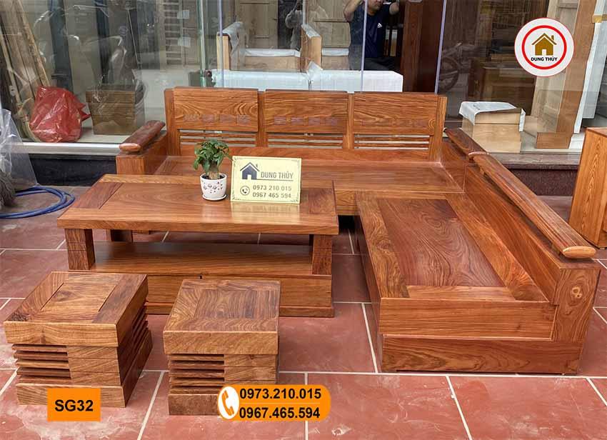 sofa góc trứng gỗ hương xám vàng SG32
