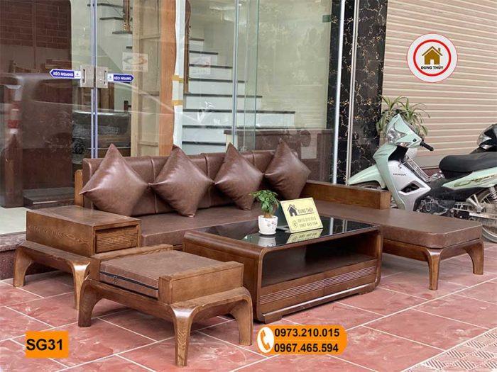 sofa chân cong gỗ sồi Nga SG31