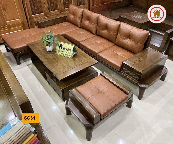 Bộ ghế sofa chân cong gỗ sồi Nga SG31