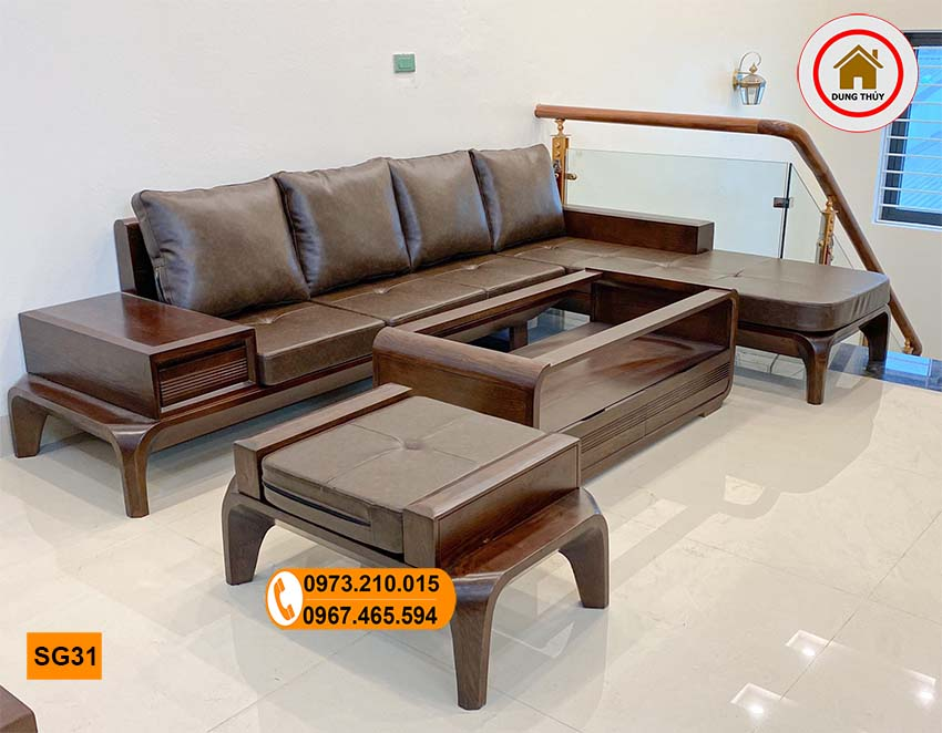 sofa chân cong gỗ sồi SG31