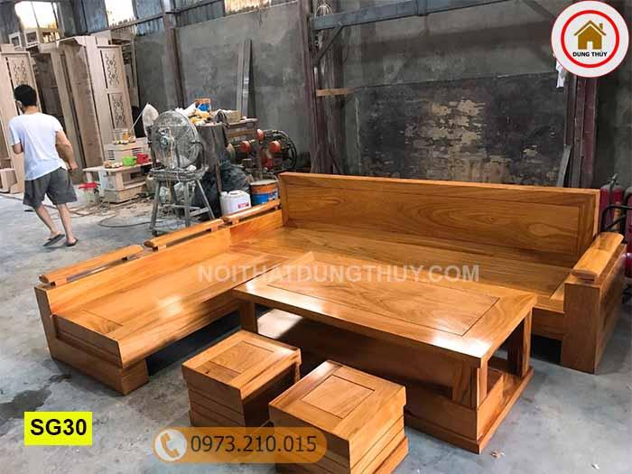 Bộ ghế sofa góc chữ L gỗ gõ đỏ SG30
