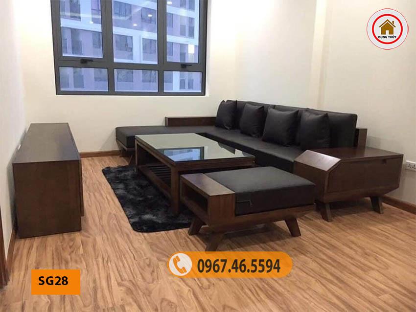 sofa gỗ tự nhiên phòng khách hiện đại SG28