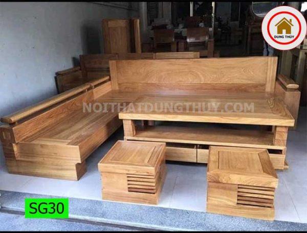 Bộ ghế sofa góc chữ L gỗ gõ SG30