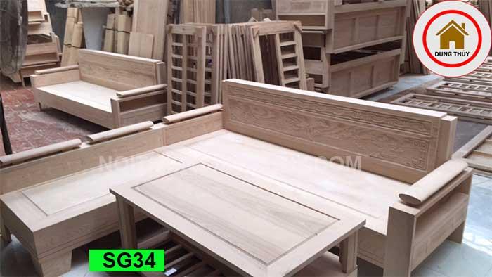 Bộ ghế sofa tay trứng tựa liền đục cảnh gỗ sồi Nga SG34
