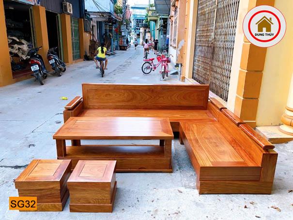 sofa góc chữ L gỗ hương xám SG32 đep