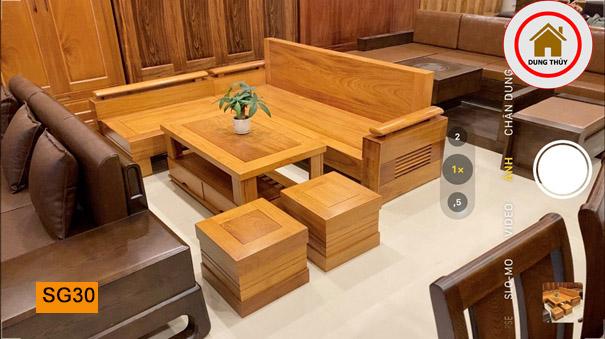 sofa góc trứng gỗ gõ đỏ đẹp SG30