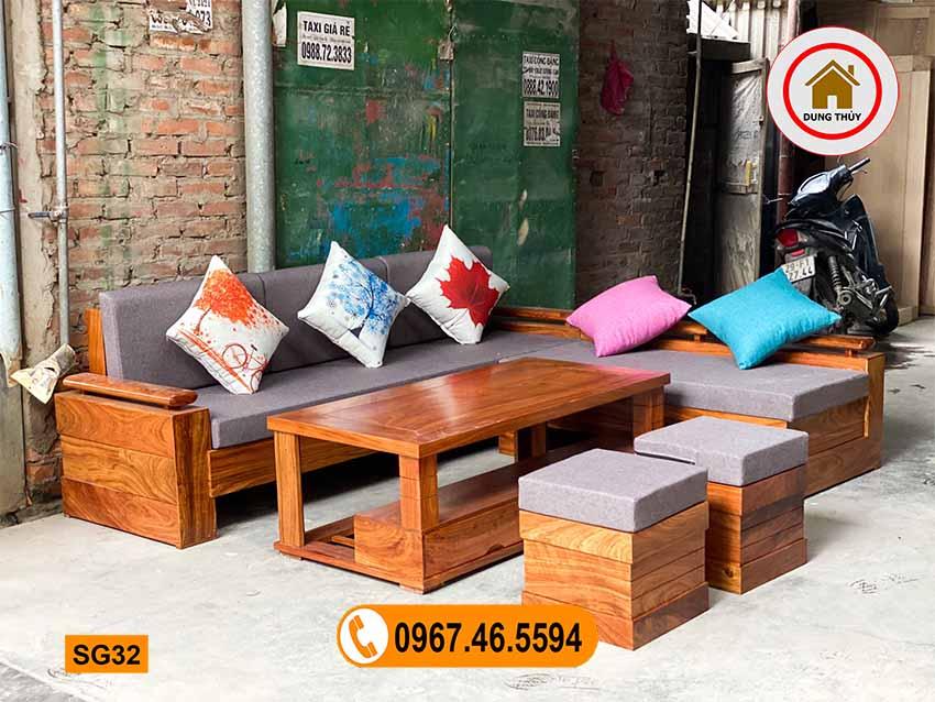 Bộ ghế sofa góc chữ L gỗ hương xám đen cao cấp SG32