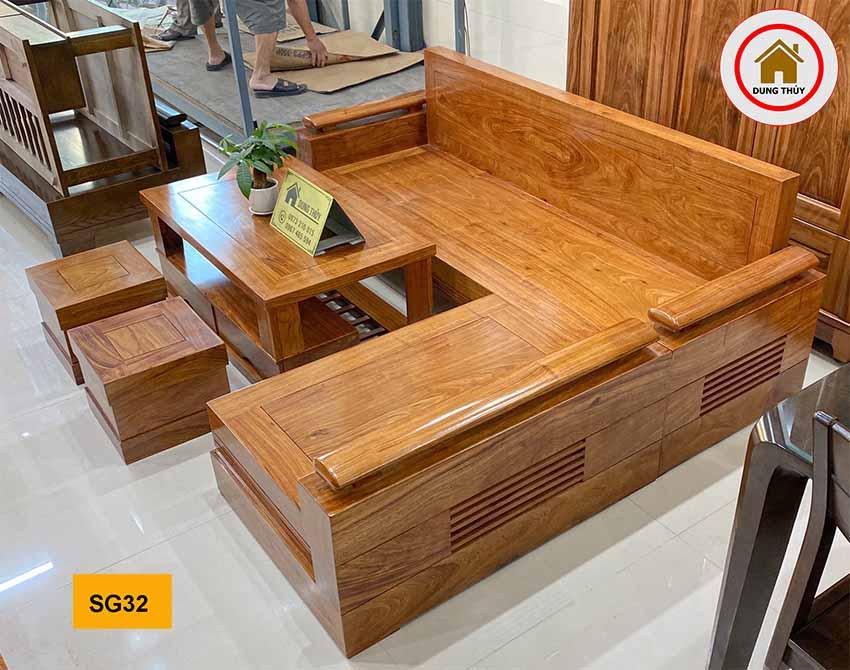 Bộ ghế sofa góc trứng to gỗ hương vàng SG32