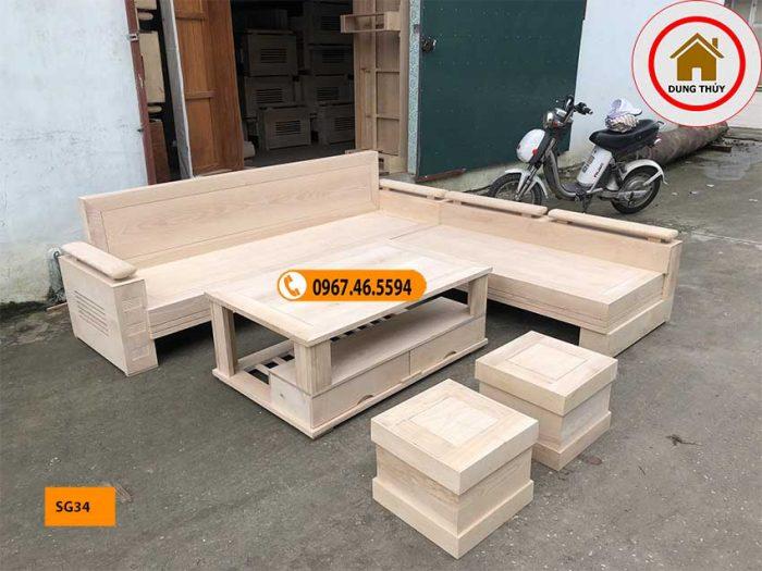 sofa tay trứng mặt và tựa liền gỗ sồi Nga SG34