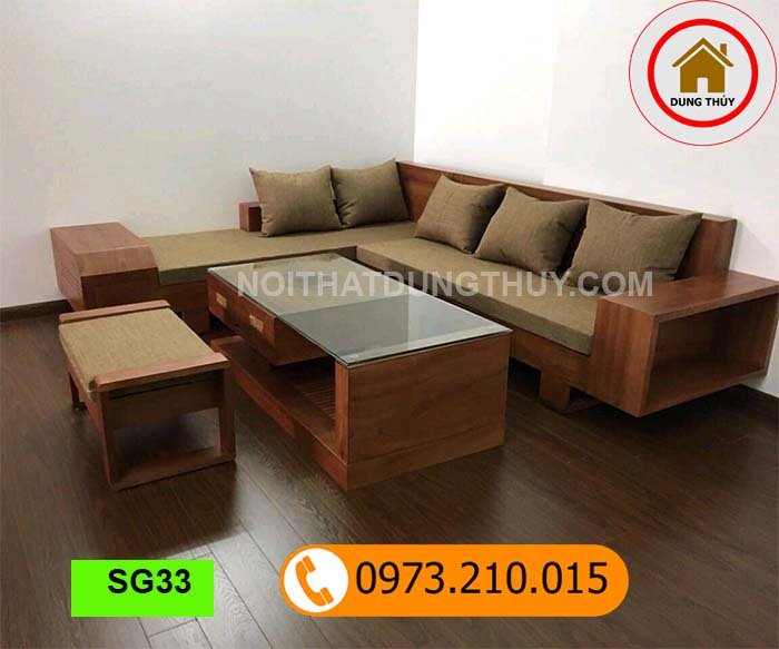 Bộ ghế sofa ngăn kéo vát gỗ xoan đào SG33