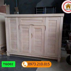 Tủ giầy dép 4 cánh 3 buồng gỗ sồi Nga TGD02