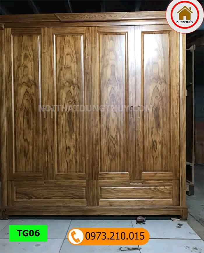 Tủ đựng quần áo 4 cánh 2 buồng gỗ hương xám TG06