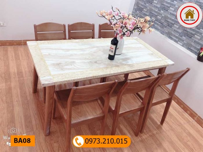 Bộ bàn ăn 6 ghế gỗ sồi Nga mặt đá nhân tạo BA08