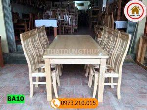 Bàn ăn 6 ghế mặt liền bàn chữ nhật kiểu đơn giản gỗ sồi Nga BA10