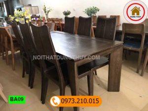 Bàn ăn mặt liền 6 ghế chữ nhật gỗ sồi Nga BA09
