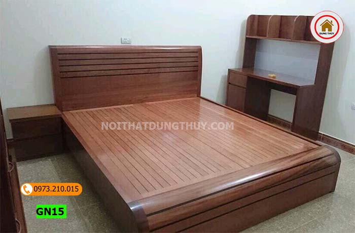 Giường cong mặt nan gỗ sồi Nga GN15