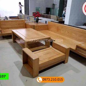 Bộ ghế sofa hộp 2 văng gỗ sồi Nga SG37