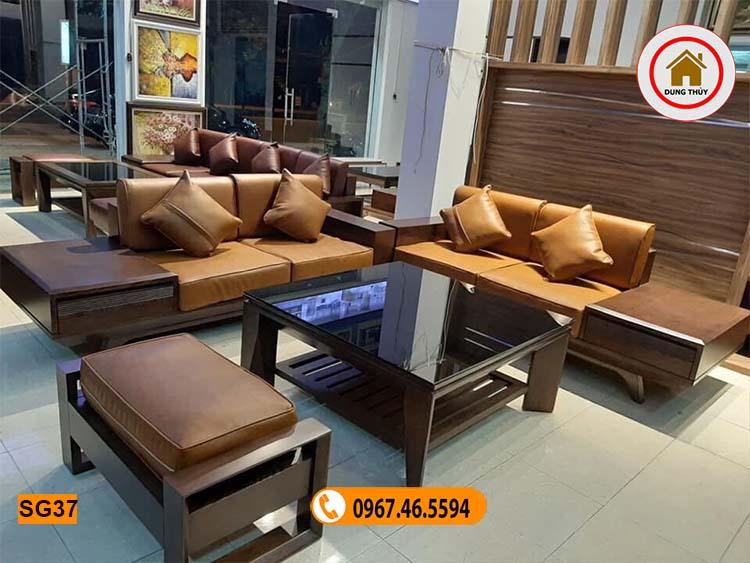 sofa 2 văng chân oải gỗ sồi Nga SG37 màu óc chó