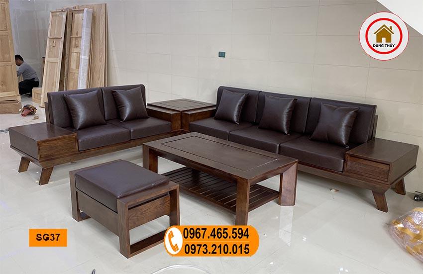 sofa 2 văng chân oải gỗ sồi Nga kèm đệm da SG37