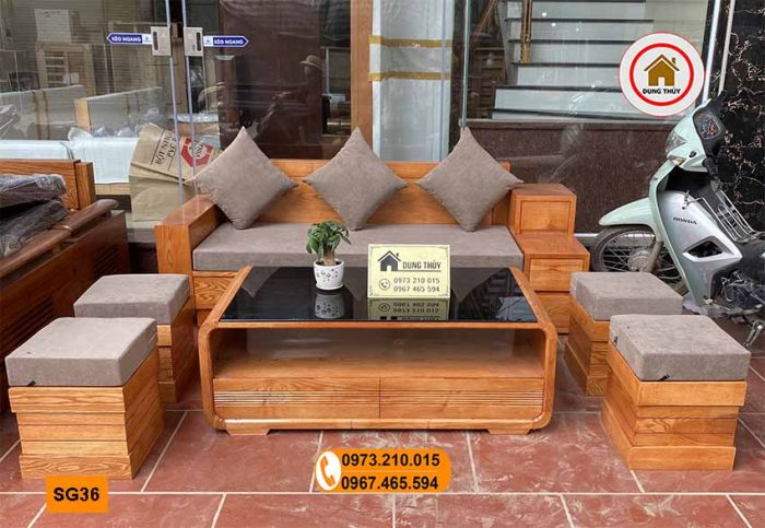 Bộ ghế sofa hộp 3 ngăn kéo gỗ sồi Nga SG36