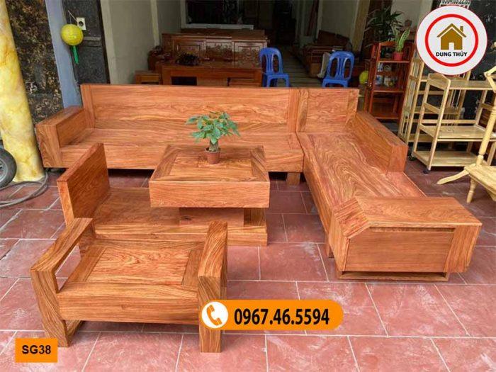 Bộ ghế sofa hộp ngăn kéo ô tô gỗ hương xám đá SG38