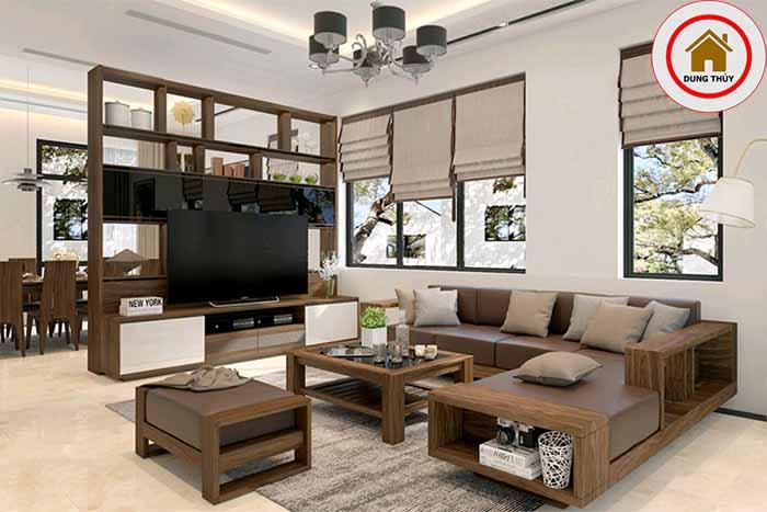 thiết kế phòng khách sử dụng đồ gỗ tự nhiên